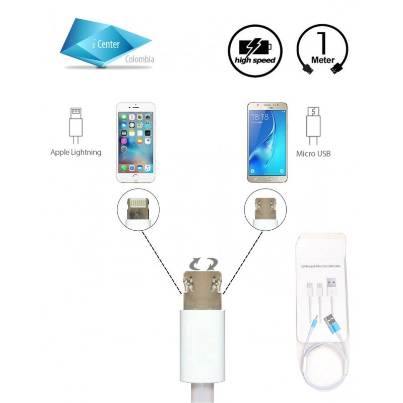 Cable USB 2 en 1 Android iPhone Micro usb Lightning