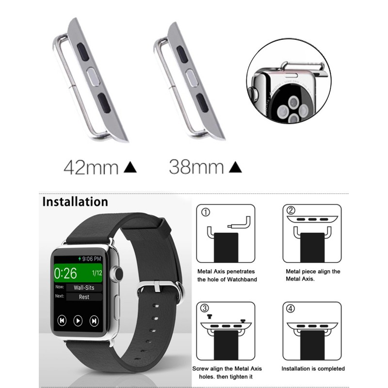 Par Repuesto Adaptador Hebilla Cierre Para Apple Watch 38mm