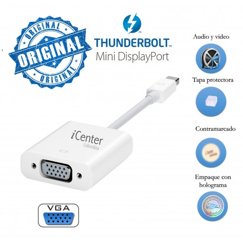 Adaptador Thunderbolt-mini Displayport VGA Macbook Proyector