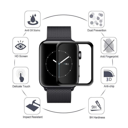 Vidrio 3D biselado negro  Protector Pantalla Apple Watch 38 mm