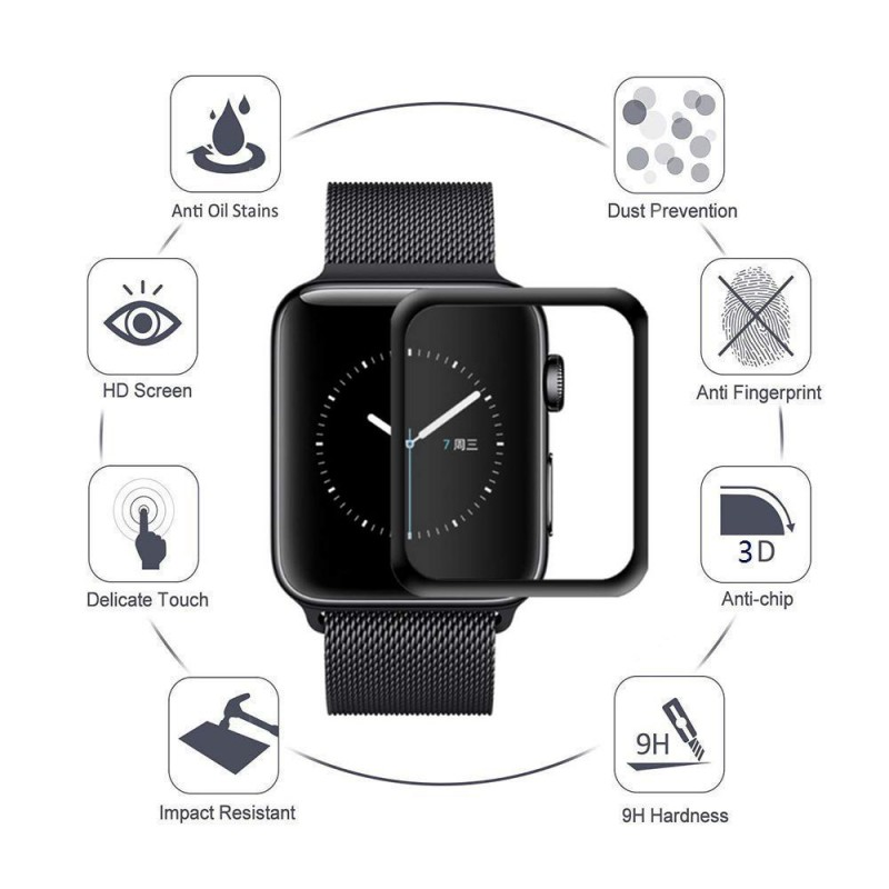 Vidrio 3D biselado negro  Protector Pantalla Apple Watch 40  mm