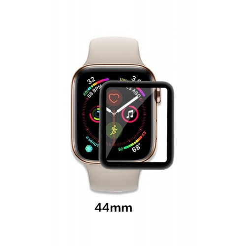 Vidrio Negro  3D Protector Pantalla Apple Watch 44 mm Serie 5 + Kit