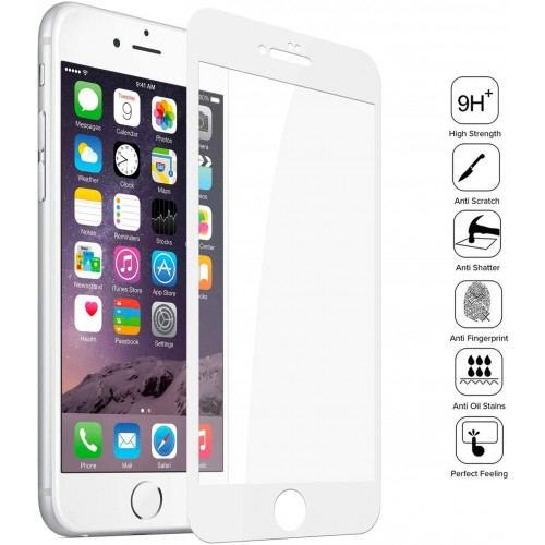 Vidrio Templado iPhone 7 - 8 - SE2020  Pantalla 9d Borde Blanco